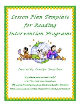 Reading Intervention Program Lesson Plan Template