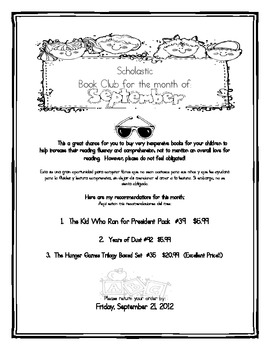 Scholastuc Book Club Monthly Letter Packet