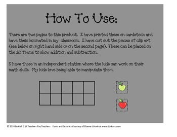 Ten Frame and Manipulatives Apple Theme for Back To School~ FREEBIE~
