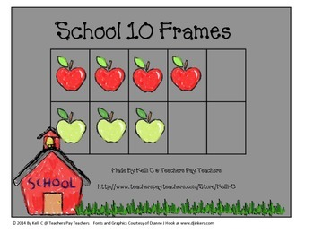 Ten Frame and Manipulatives Apple Theme for Back To School