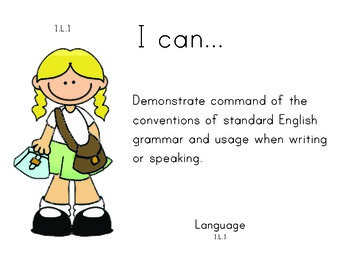 School 1st grade English Common core standards posters