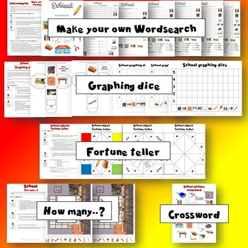School Activity Pack - Crafts, Worksheets, Flashcards and Games