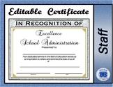 School Administrator Certificate - Editable