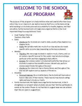 School Age Welcome Letter