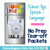 School-Aged Summer Speech & Language Packet: Tear Off