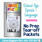 School-Aged Summer Speech & Language Packet: Tear Off, No Prep