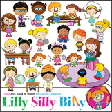 School Agenda. Clipart. BLACK AND WHITE & Color Bundle. {Lilly Silly Billy}