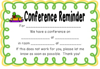 School Animal  Parent Teacher Conference Reminders, Posters, and Sign-In Sheets