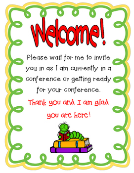 School Animal Themed Parent Conference Reminders, Posters, and Sign-In Sheets