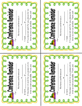 school animal themed parent conference reminders posters and sign