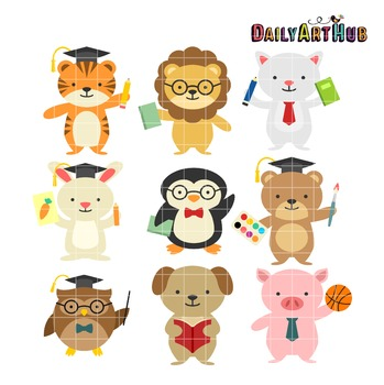 School Animals Clip Art - Great for Art Class Projects!