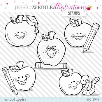 School Apples Cute Digital B&W Stamps, Apples Line Art, Blackline, Apple Stamps