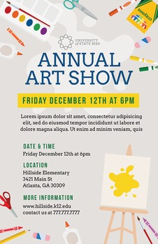 School Art Show Flyer Template For Art Festival By