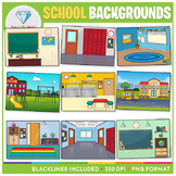 School Backgrounds Clip Art - For BOOM CARDS, POWERPOINT a