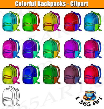 School Backpacks Clipart Bundle - 32 Files, PNG & JPEG, Black & White
