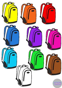 School Bags and Lunch Bags Back to School Clip Art- 30 Images