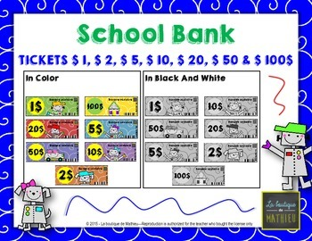 School Bank (Tickets 1$, 2$, 5$, 10$, 20$, 50$ and 100$)