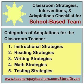 School-Based Team (SBT): Checklist Form for Classroom Adaptations