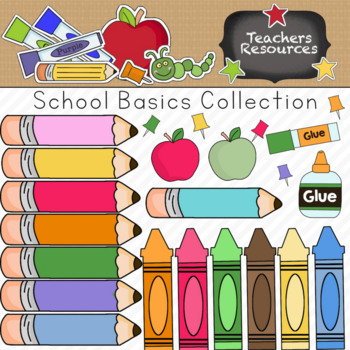 School Basics Clipart Collection || Commercial Use Allowed