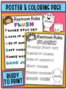 photograph about Printable Bathroom Rules called Higher education Rest room Tips Worksheets Instruction Supplies TpT