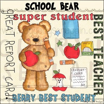 School Bear Clipart Collection~NO LICENSE REQUIRED SET
