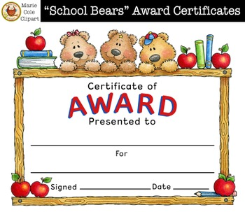 """School Bears"" End of the Year Awards [Marie Cole Clipart]"