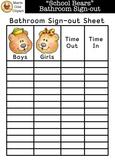 """School Bears"" Bathroom Sign-out Printable [Marie Cole Clipart]"