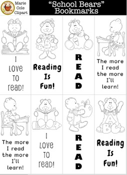 """""""School Bears"""" Bookmarks Printables [Marie Cole Clipart]"""