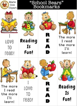 """School Bears"" Bookmarks Printables [Marie Cole Clipart]"