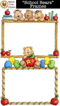 """School Bears"" Frames [Marie Cole Clipart"