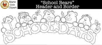 """School Bears"" Header and Border [Marie Cole Clipart]"