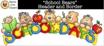 """School Bears"" Header and Border [Marie Cole Clipart]"