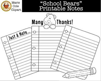 """School Bears"" Notes Printables [Marie Cole Clipart]"