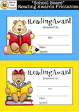 """School Bears"" End of Year Reading Awards Printables [Mari"