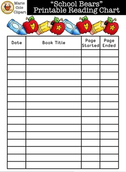"""School Bears"" Reading Chart Printables [Marie Cole Clipart]"