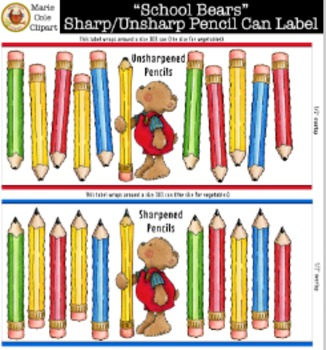 """""""School Bears"""" Sharp and Unsharp Pencil Labels [Marie Cole Clipart]"""