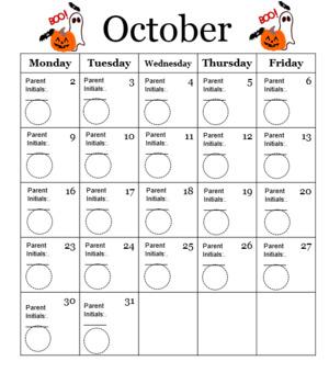 School Behavior Calendar 2017-2018