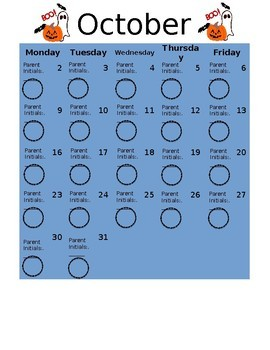 School Behavior Calendar 2017-2018