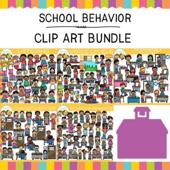 School Behavior Clip Art Bundle {Whimsy Clips School Clip Art}