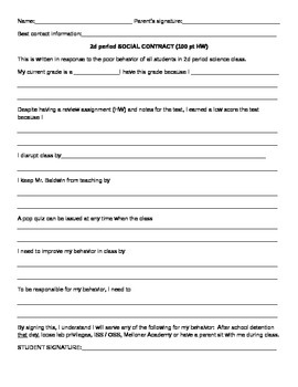 School Behavior Social Contract template