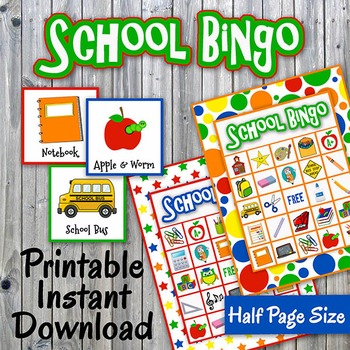 Back to School Bingo Cards and Memory Game - Printable - Up to 30 players