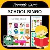 School Bingo - Cute School Themed Bingo Game Vocabulary Preschool K-2 kids
