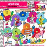 School Birds clip art