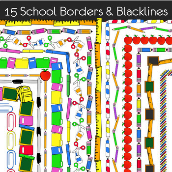 School Borders - Back to School Themes - 15 School Supplies Borders / Frames