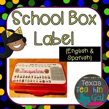 School Box Label [English and Spanish]