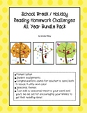 School Break / Holiday Reading Homework Challenges: Bundle Pack