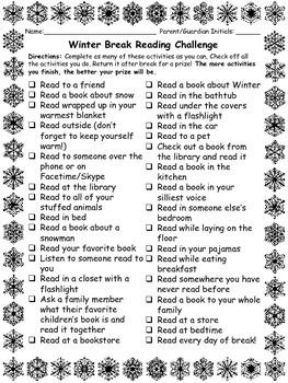 School Break Reading Challenge- Thanksgiving & Winter Edition