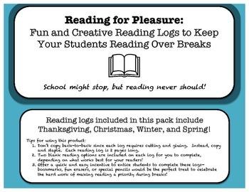 School Break Reading Log Pack