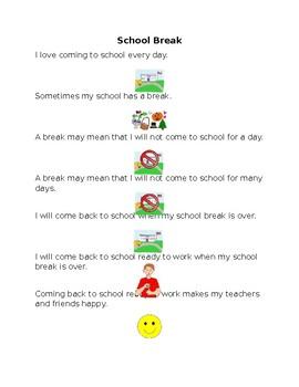 School Break Social Story