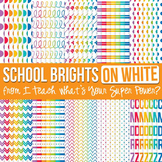 School Brights on White Digital Paper Set